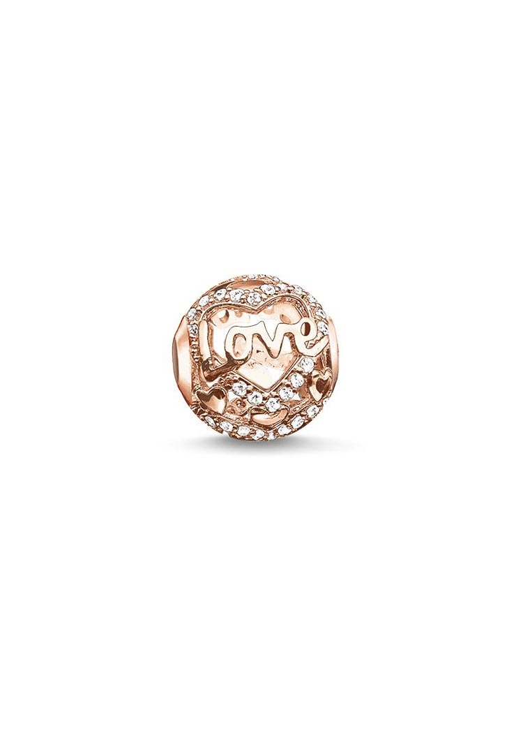 K0176 Karma Bead Heart of love Roségold weiß
